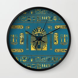 Gold Sphinx head with Egyptian hieroglyphs on blue leather Wall Clock