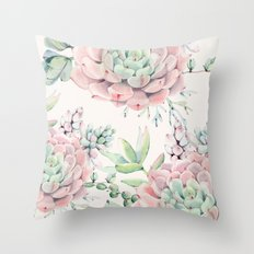 Pink Succulents Throw Pillow