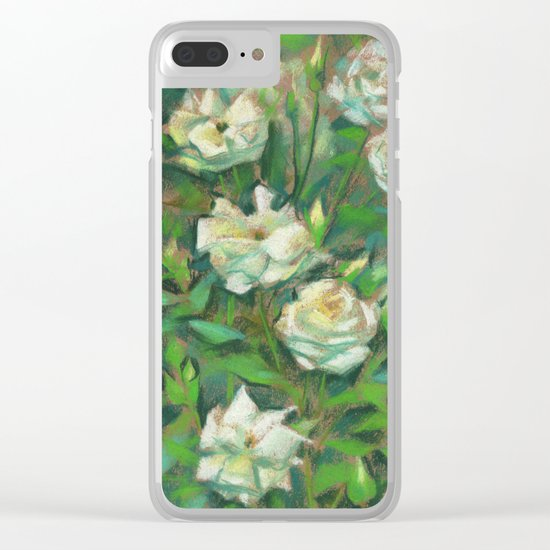 """""""White roses, green leaves"""", pastel painting, floral art Clear iPhone Case"""