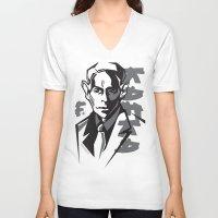 kafka V-neck T-shirts featuring Kafka portrait in Black & Dark Greys by aygeartist