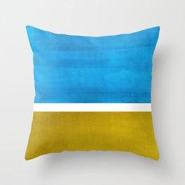 Colorful Bright Minimalist Rothko Olive Green Jewel Blue Midcentury Modern Art Vintage Pop Art Throw Pillow