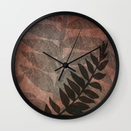 Pantone Living Coral Abstract Grunge with Fern Leaf - Foliage Silhouettes Wall Clock