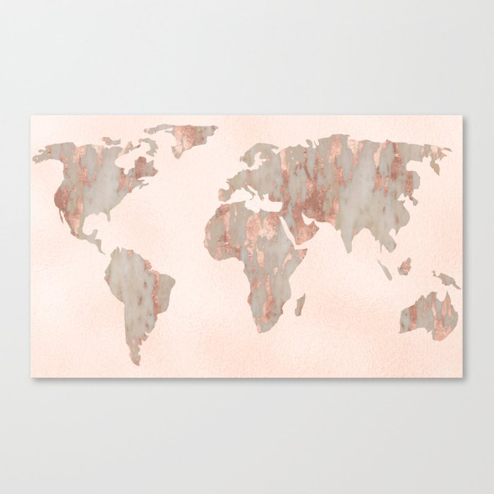 Rosegold Marble Map of the World Canvas Print by mapmaker | Society6