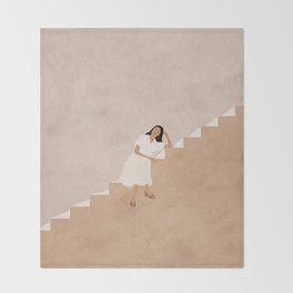 Girl Thinking on a Stairway Throw Blanket