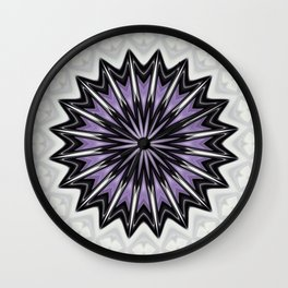 Silver Grey and Lilac Bold Kaleidoscope Pattern Wall Clock