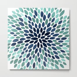 Flower Bloom, Aqua and Navy Metal Print