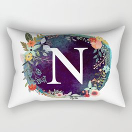 Personalized Monogram Initial Letter N Floral Wreath Artwork Rectangular Pillow