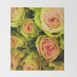 Green & Pink Bouquet Throw Blanket