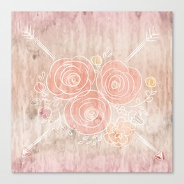 Cute card with flower bouquet on wood background Canvas Print