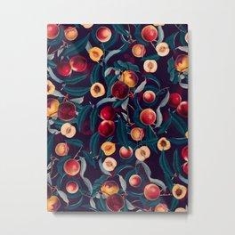 Nectarine and Leaf pattern Metal Print