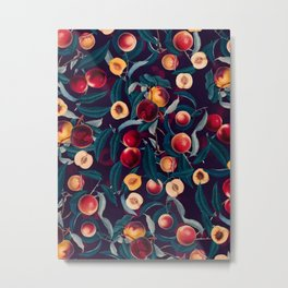 Nectarine and Leaf pattern Metal Print
