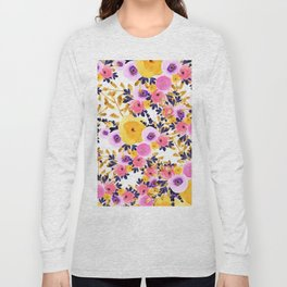Pink purple lavender yellow hand painted watercolor floral Long Sleeve T-shirt