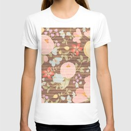 Rustic brown wood pastel pink botanical floral T-shirt
