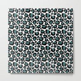 Teal Leopard Animal Print Pattern Metal Print