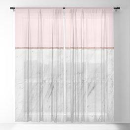Blush Pink Rose Gold Marble Pattern Sheer Curtain