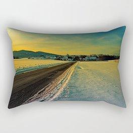 Winter road into dusk | landscape photography Rectangular Pillow