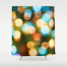 Abstract holiday Christmas background with blue and yellow Shower Curtain