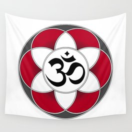 Om Seed of Life Red Wall Tapestry