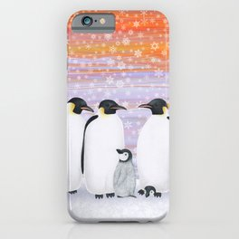 emperor penguins and chicks winter sunset iPhone Case