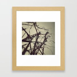 Snow fall in the field. Framed Art Print