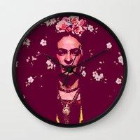 frida Wall Clocks featuring Frida by Marialaura