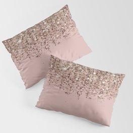 Blush Pink Rose Gold Bronze Cascading Glitter Pillow Sham
