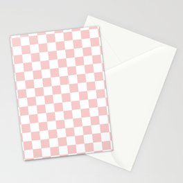 Gingham Pink Blush Rose Quartz Checked Pattern Stationery Cards
