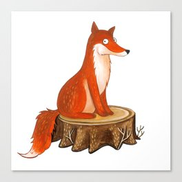 Silly Cute Fox, foxy, illustration, watercolor, wood, adorable, children, kid, decoratin Canvas Print