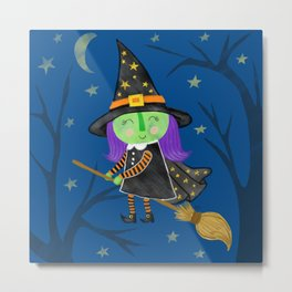 Cute Halloween Witch Metal Print