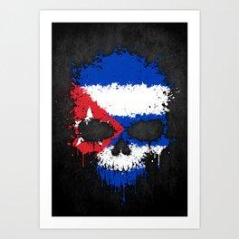 Flag of Cuba on a Chaotic Splatter Skull Art Print