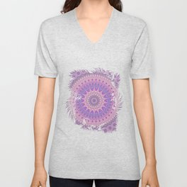 Beautiful detailed Mandala pink purple #mandala Unisex V-Neck