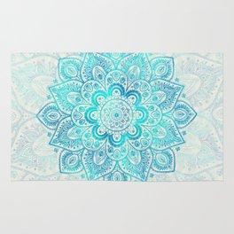 Turquoise Lace Mandala Rug