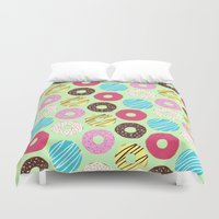 donut Duvet Covers featuring Donut by Charlotte Lucy