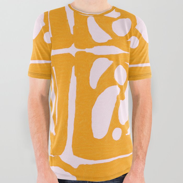 Abstract in Yellow and Cream All Over Graphic Tee