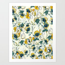 vintage floral pattern 3 Art Print