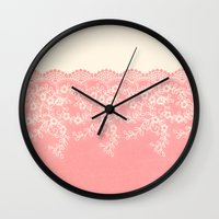 aelwen Wall Clocks featuring Lace #CoralPink by Armine Nersisian
