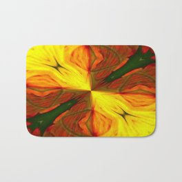 Bold Red, Green and Gold Abstract Kaleidescope Bath Mat