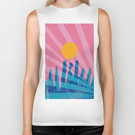 Yellow sun in the pink sky of the French Riviera Biker Tank