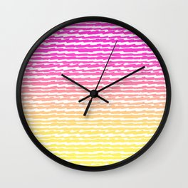 Neon Pink Yellow Ombre Abstract Stripes Pattern Wall Clock
