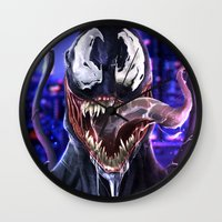 venom Wall Clocks featuring VENOM by corverez