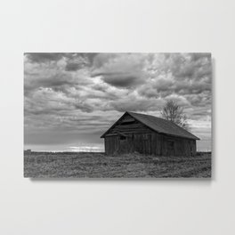 Finland Farm (Black and White) Metal Print