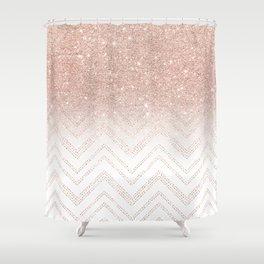 Modern faux rose gold glitter ombre modern chevron stitches pattern Shower Curtain