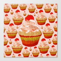 cupcakes Canvas Prints featuring Cupcakes by Alexandra Baker