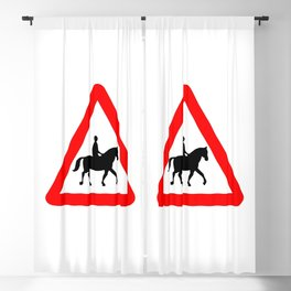 Horse and Rider Traffic Sign Isolated Blackout Curtain