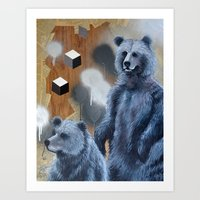 Black Bears Cubed Art Print