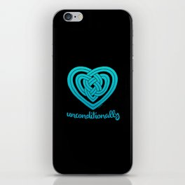 UNCONDITIONALLY in teal on black iPhone Skin