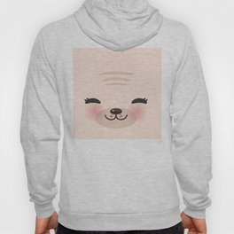 Kawaii funny cat with pink cheeks and winking eyes on pink background Hoody