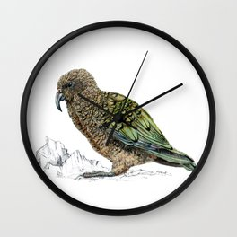 Mr Kea, New Zealand parrot Wall Clock