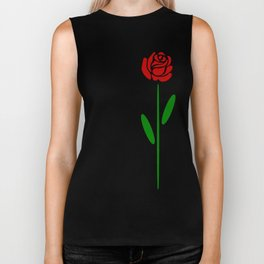 Single Long Stemmed Red Rose Biker Tank