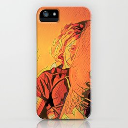 inside on rainy evenings with the incandescent bulb plugged in iPhone Case
